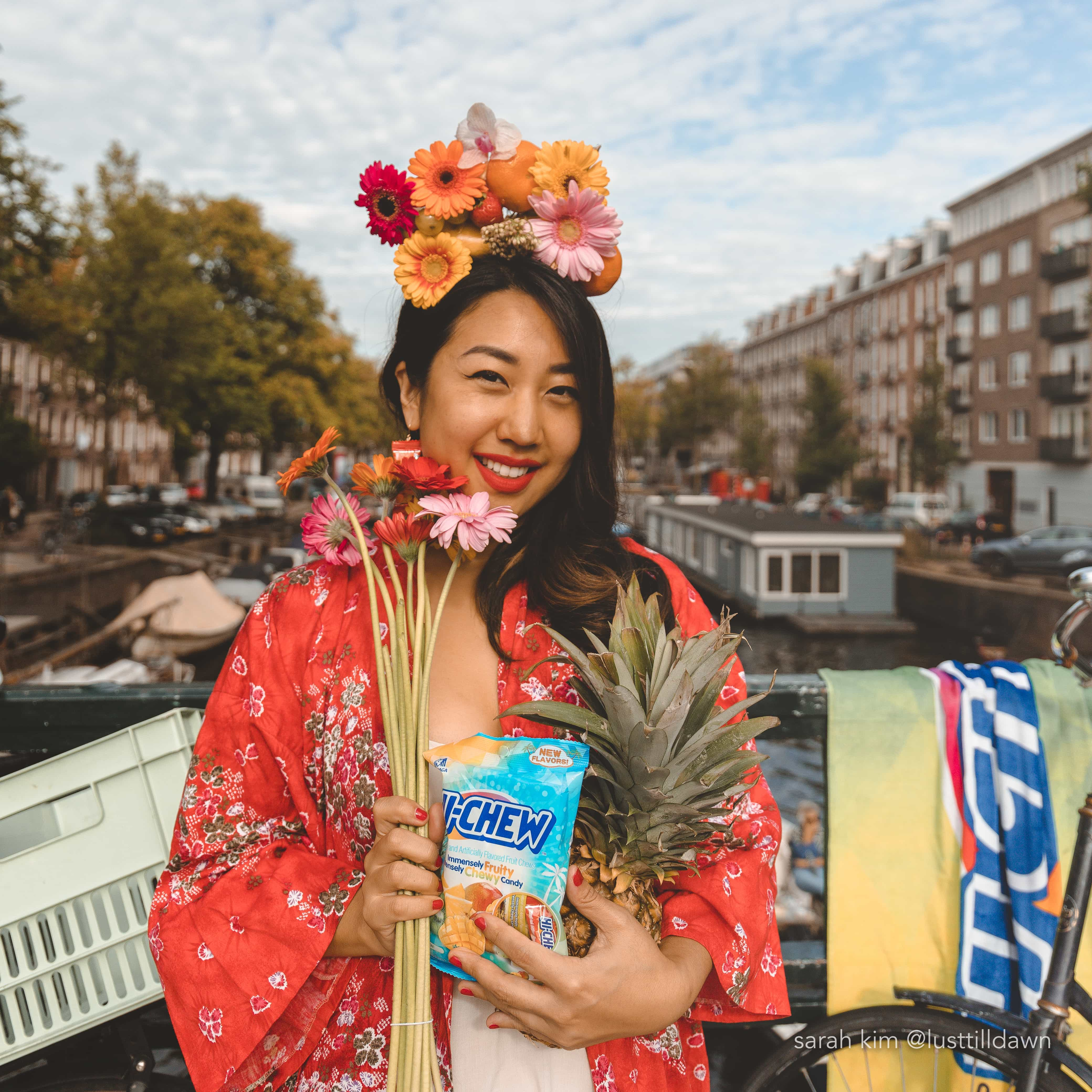 girl in red kimono flower crown hi-chew candy