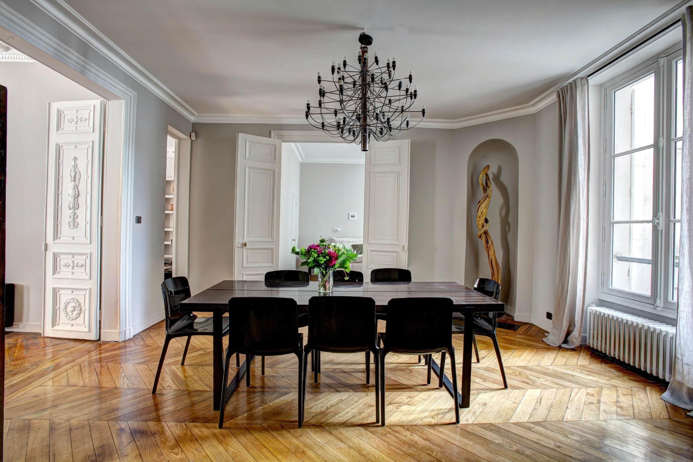what is airbnb dining room large herringbone wood floors