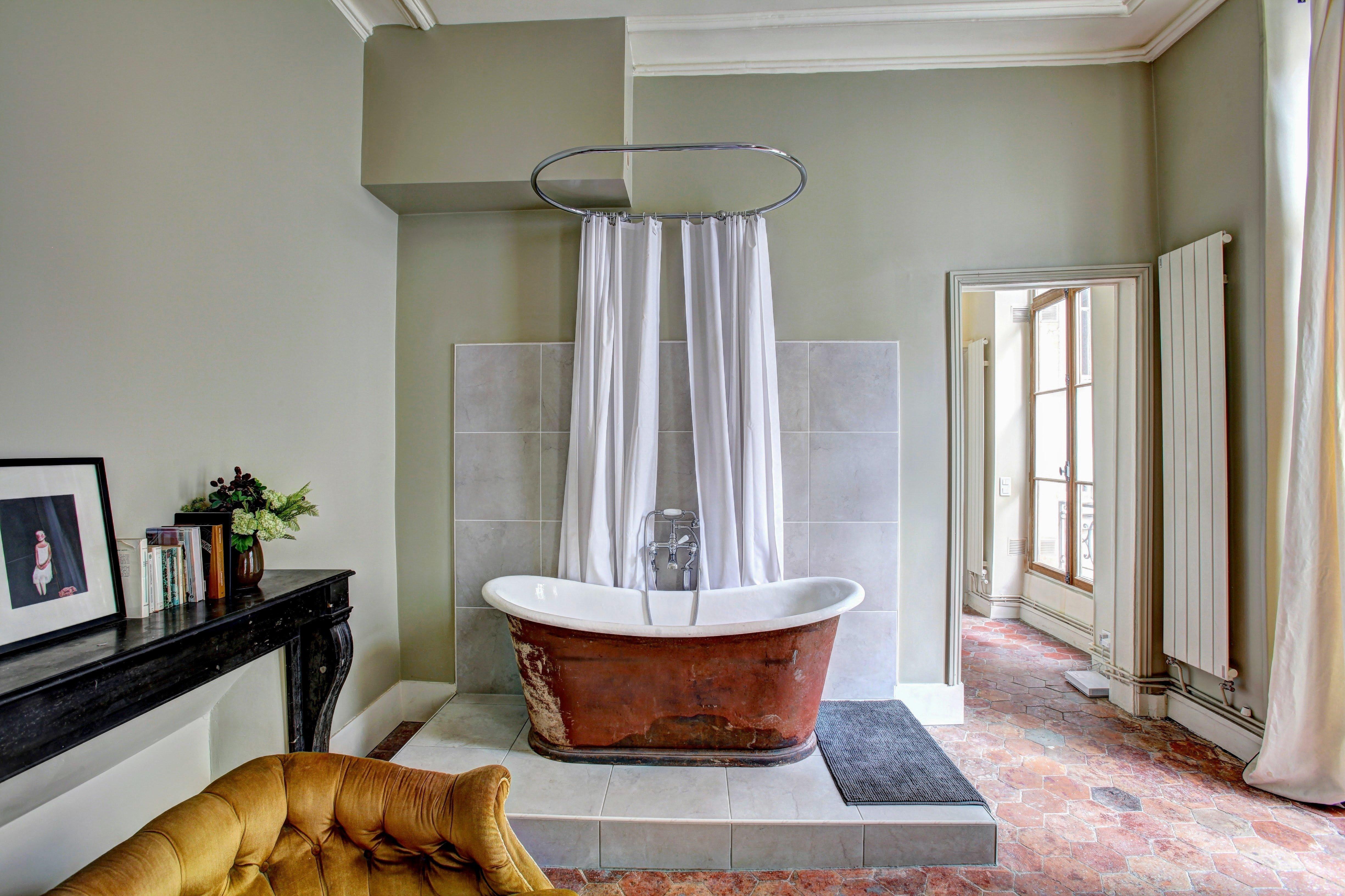 copper bathtub curtain large bathroom interior design what is airbnb fromlusttilldawn.com lust till dawn
