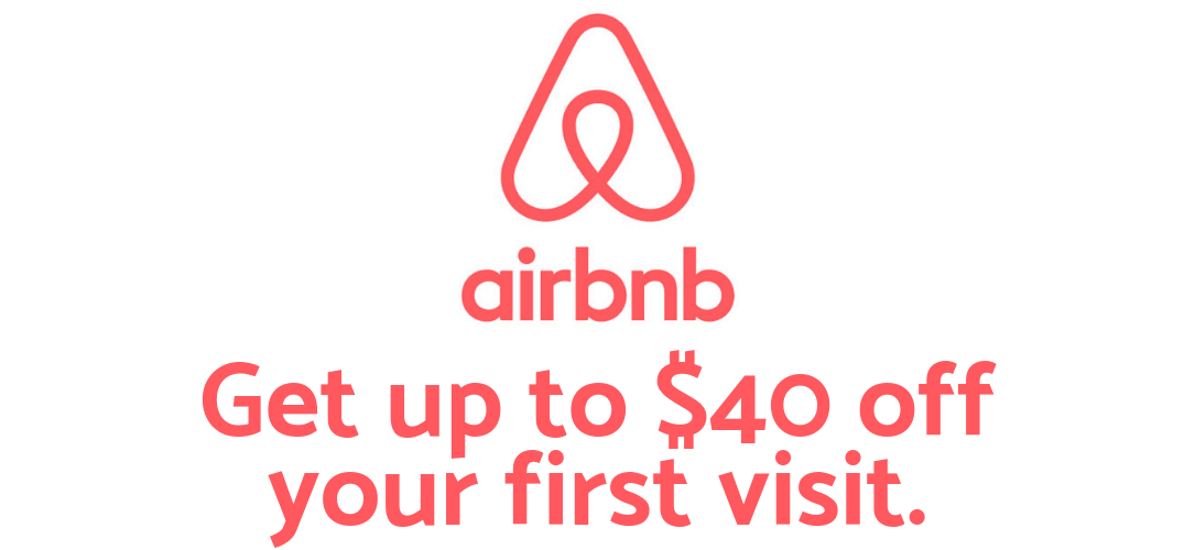"""AirBnb graphic that says """"Get up to $40 off your first visit."""""""