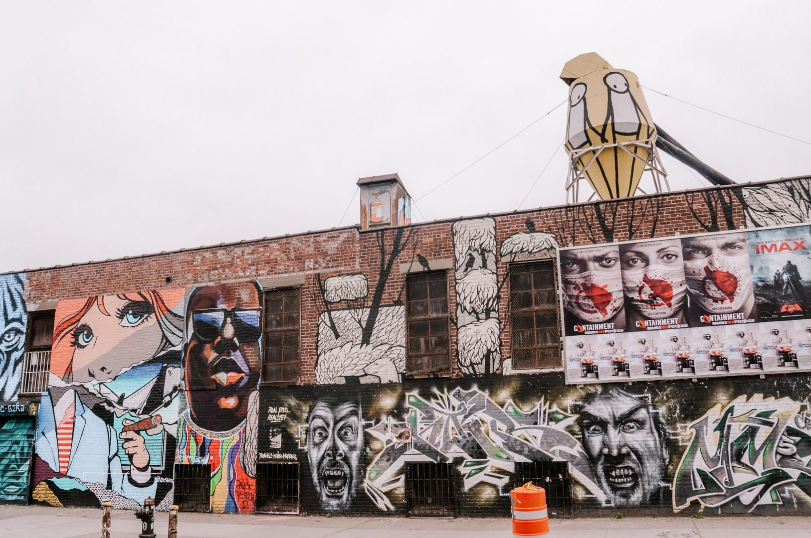 Wall of Bushwick street art at the Bushwick Collective