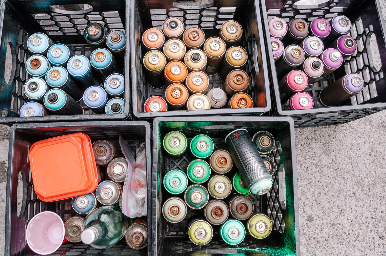 Cans of spray paint used for Bushwick street art and Brooklyn graffit