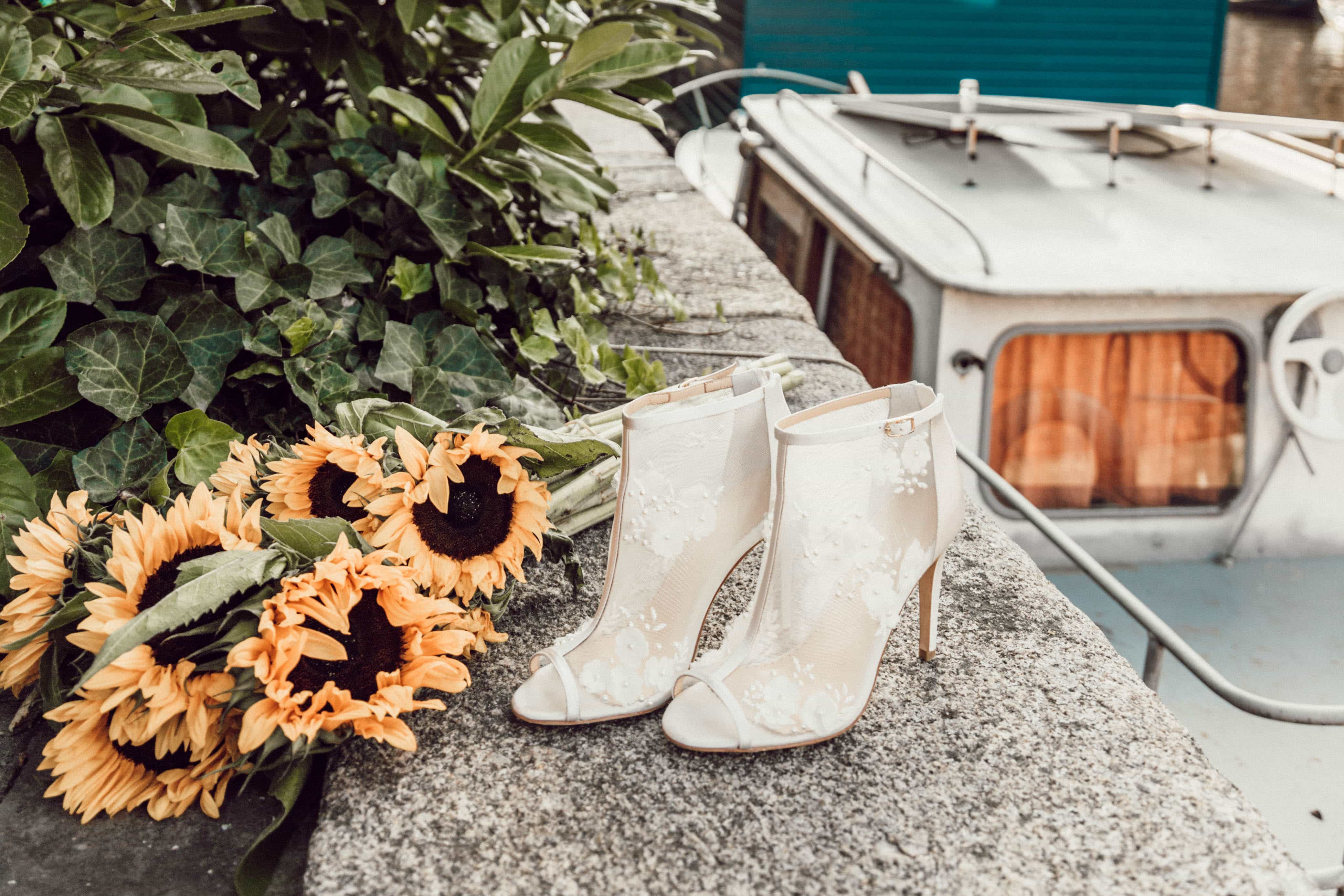 Lace booties, which are comfortable wide fit bridal shoes