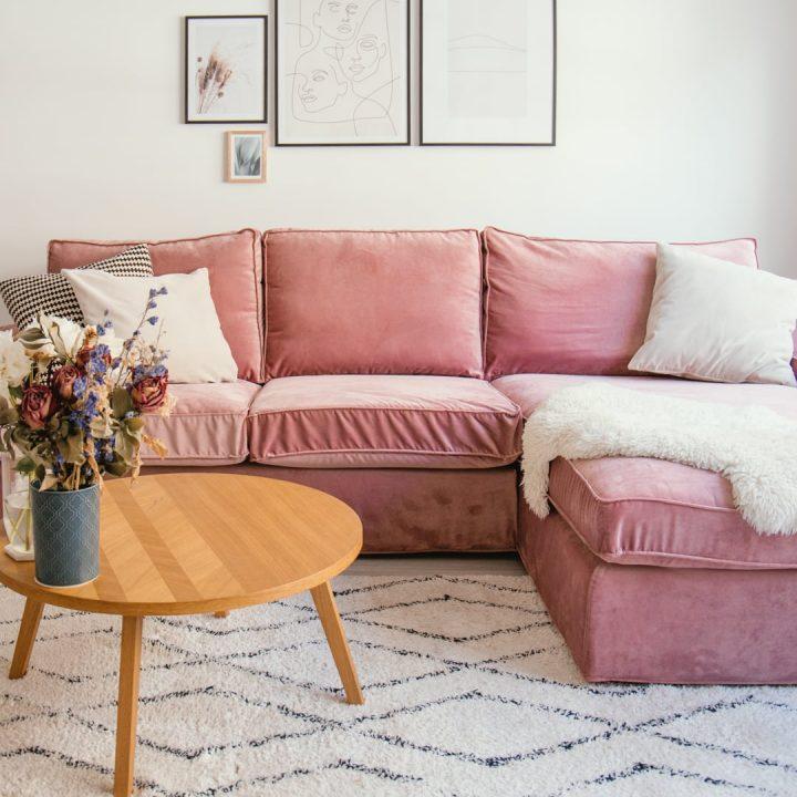 IKEA sofa covers by Bemz in Pink Clover velvet