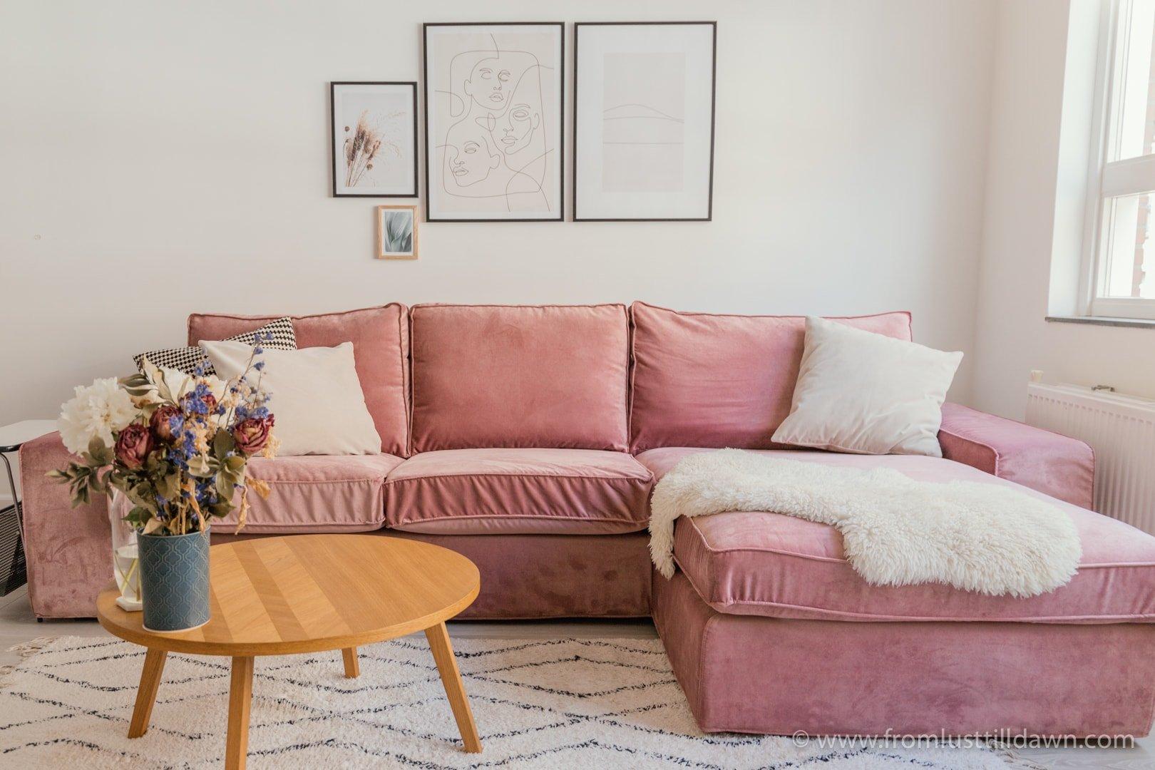 custom IKEA sofa covers in Clover Pink velvet by Bemz