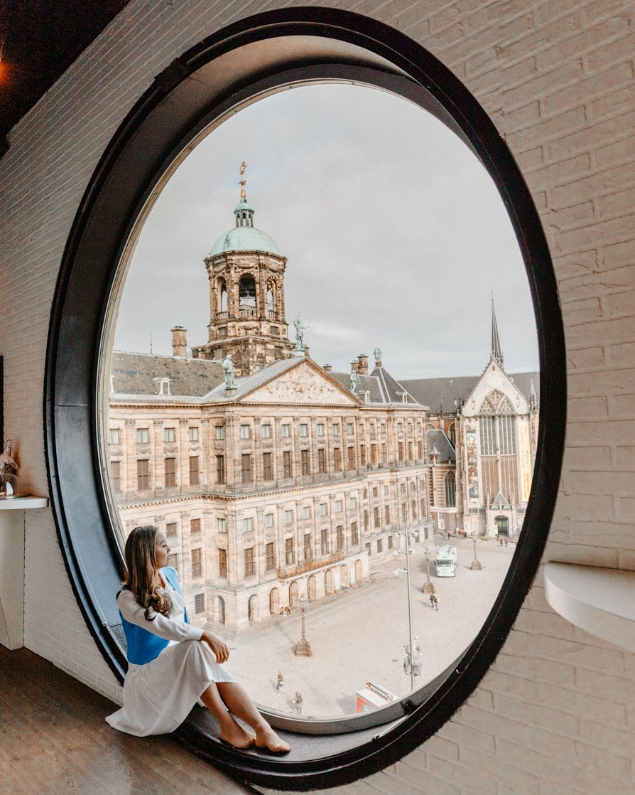 Overhead view of Dam Square from Madame Tussauds' Amsterdam Instagram spot