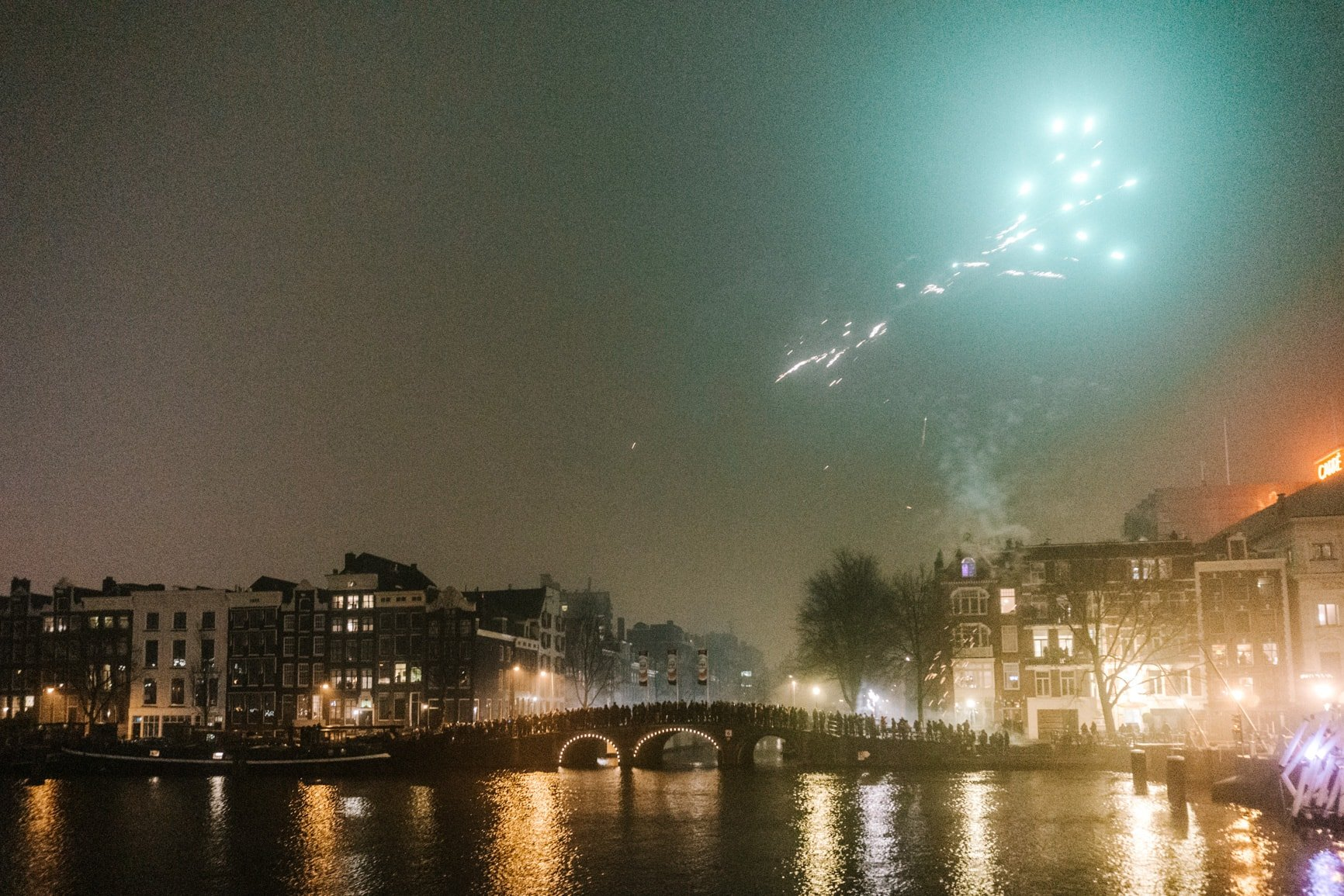 fireworks in amsterdam in december on new year's eve at the skinny brixdge