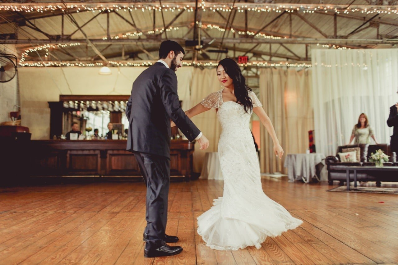Bride and groom dancing at the Lace Factory, a venue for a Connecticut wedding