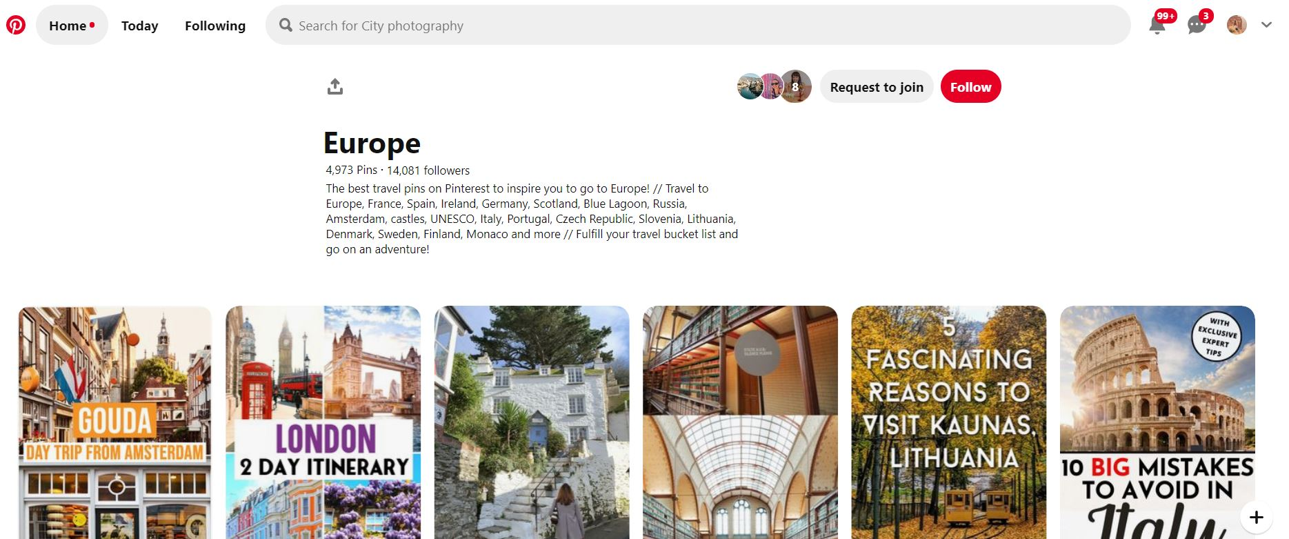screenshot of Pinterest travel group board about Europe