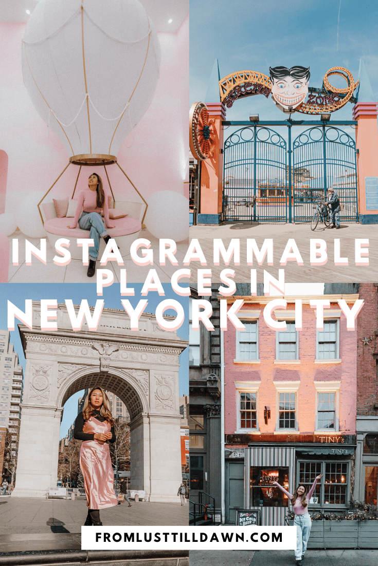 collage of multiple instagrammable places in nyc