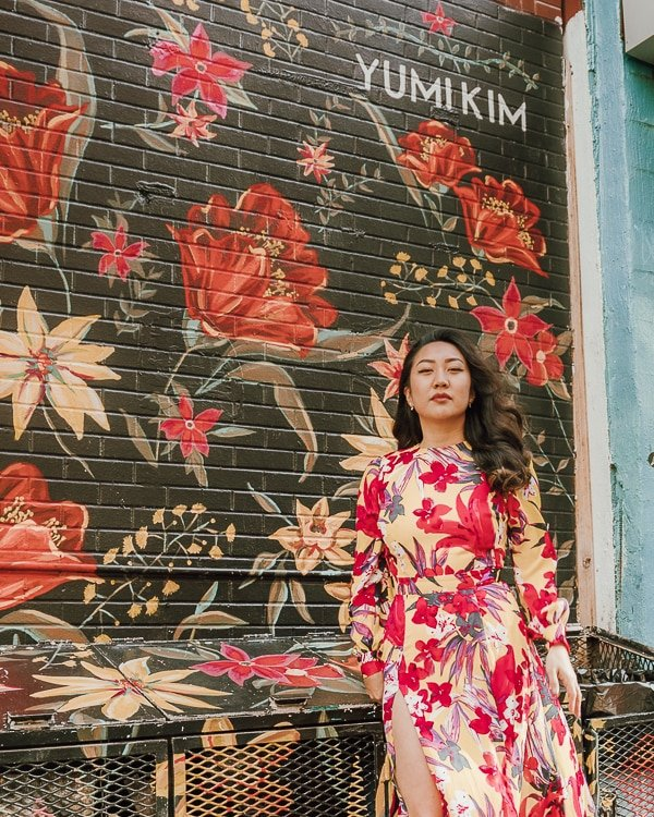 yumi kim, one of the best places to take pictures in nyc; dress by nadine merabi