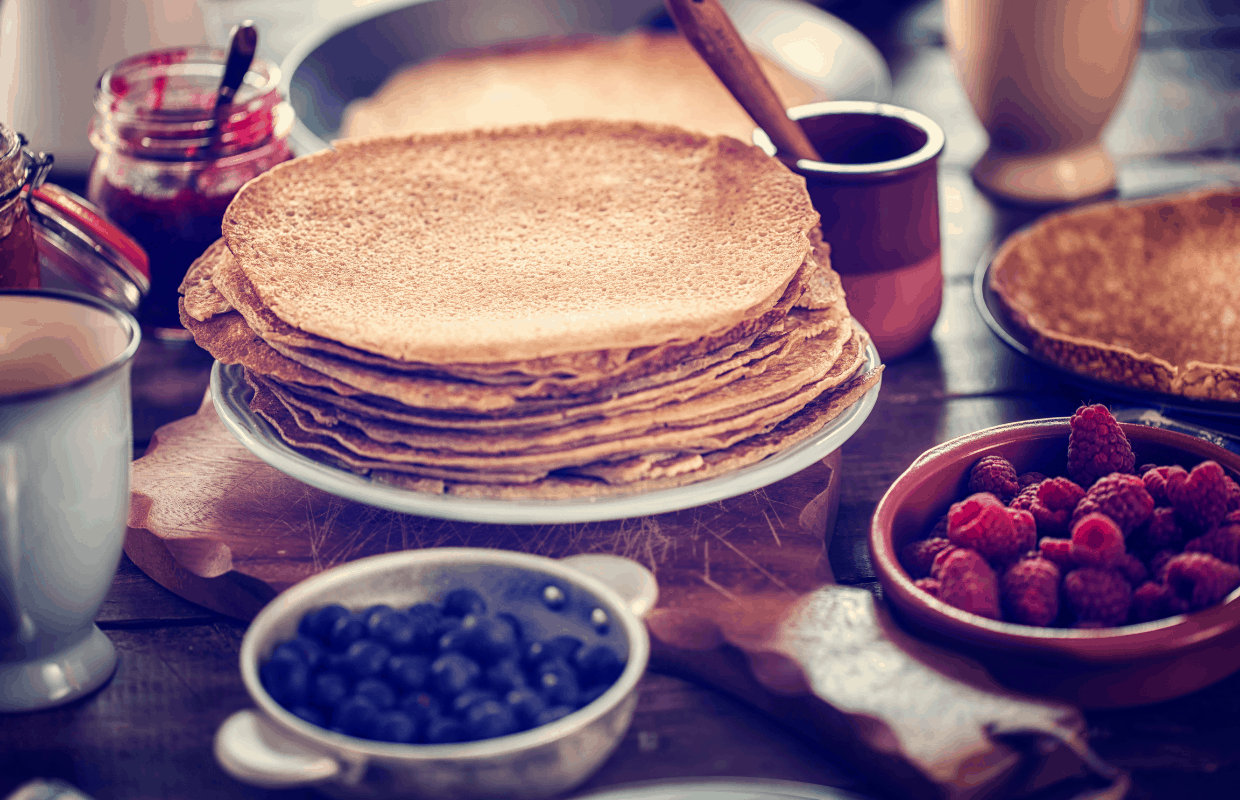Eating pannekoeken is a great idea for a staycation in Amsterdam.