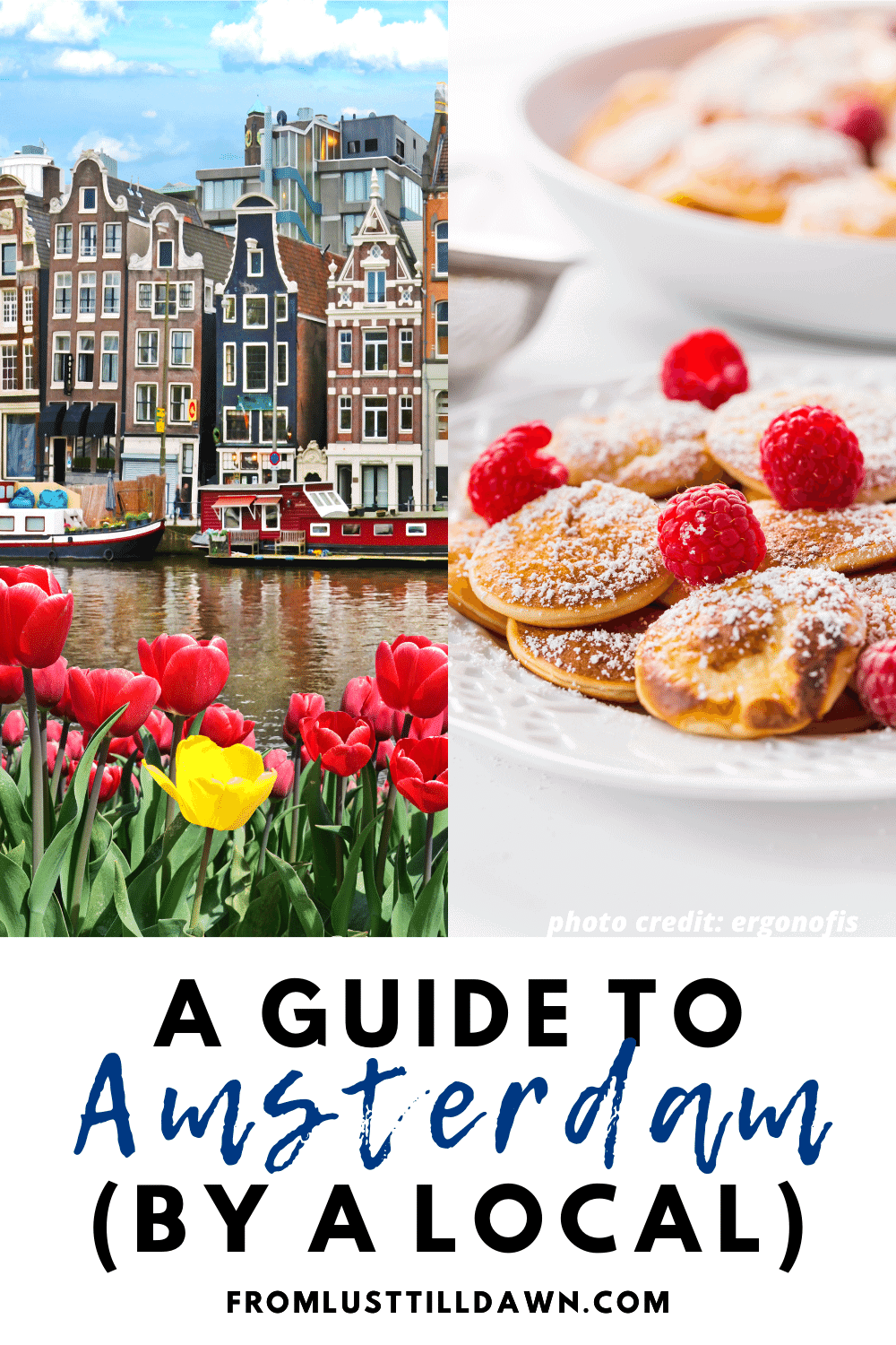 "Pinterest Pin with an image of red and yellow tulips with a row of houses on an Amsterdam canal behind them. Text on the bottom of the picture that says ""Amsterdam Guide (by a local)""."