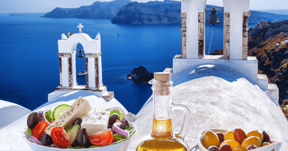 Greek salad is one of the must try food and drink in Greece.