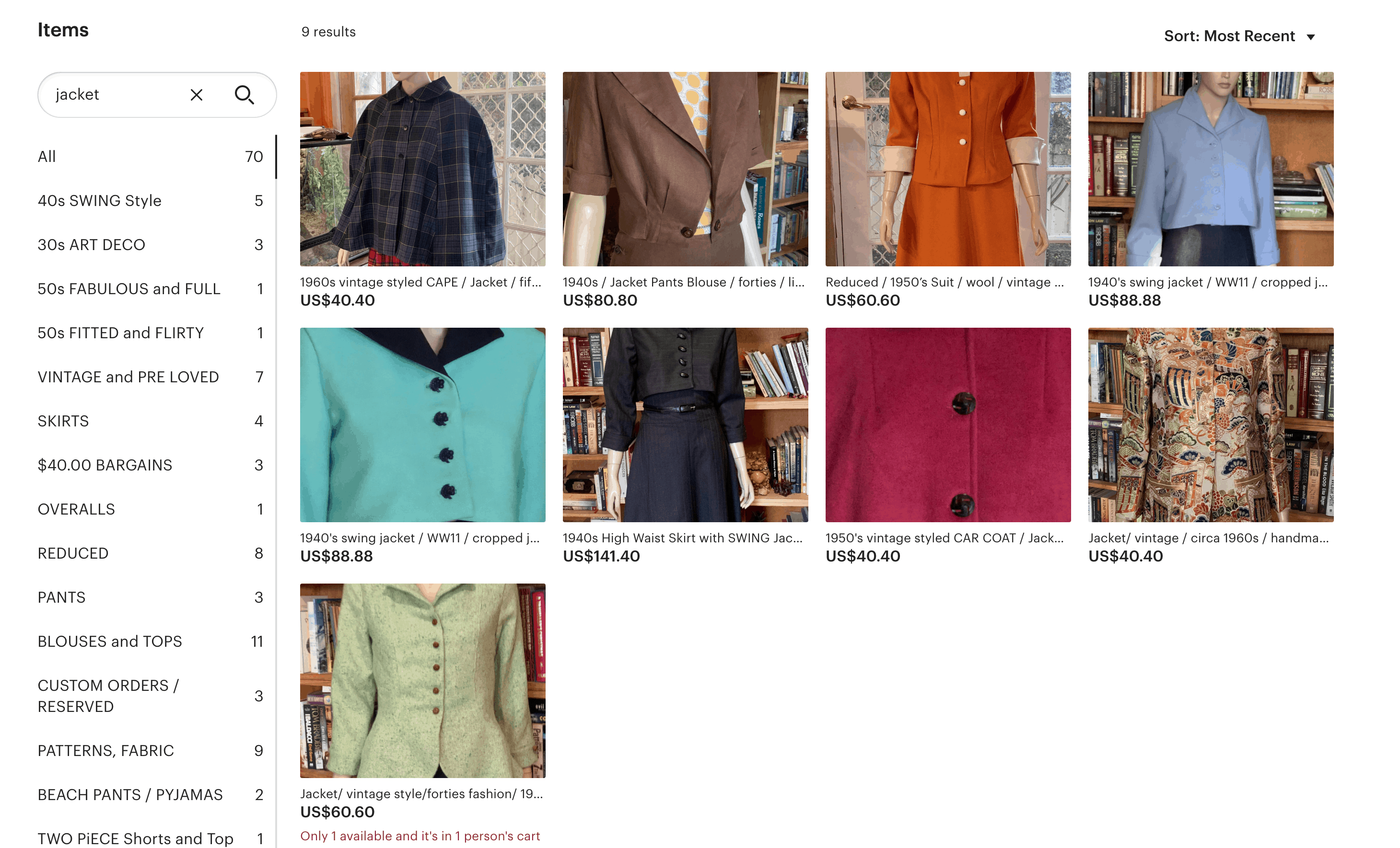 Screenshot of Etsy shop, Jack's Daughter, which has the best vintage dresses online