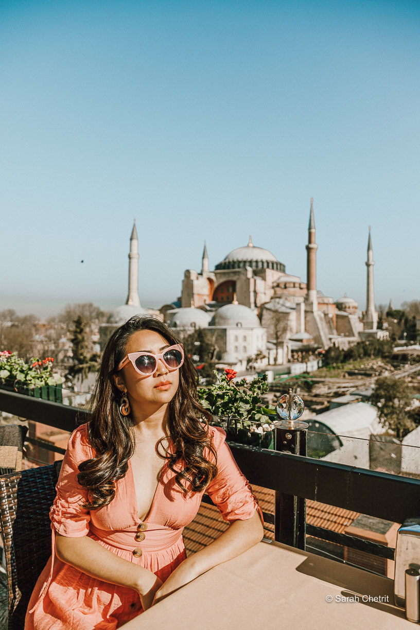 The Seven Hill Restaurant has a rooftop that gives you a 360 view of the city, which includes both the Blue Mosque and Hagia Sophia, two of the most Instagrammable places in Istanbul.