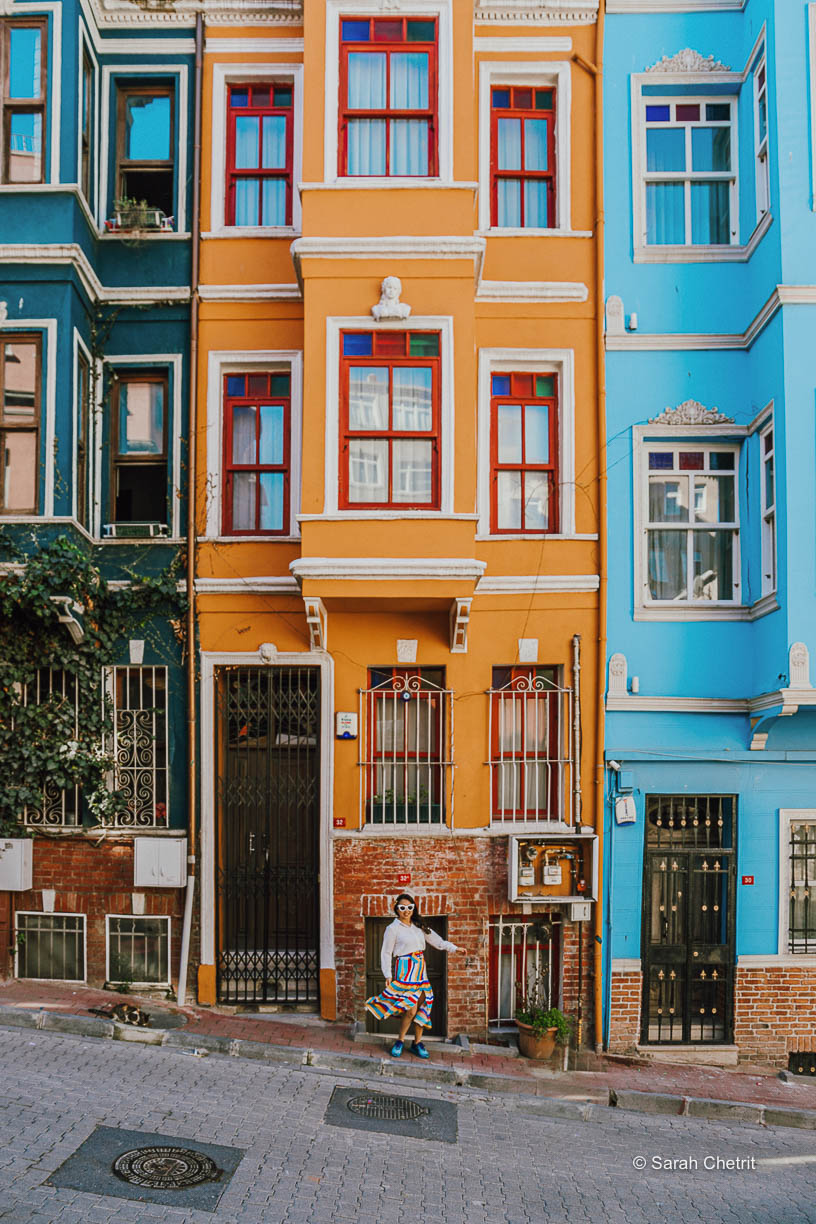 Balat neighborhood has so many Instagrammable places in Istanbul including an umbrella street in Istanbul and famous colorful houses in Balat.