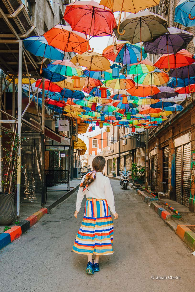 This is the famous Instagrammable umbrella street in Istanbul.